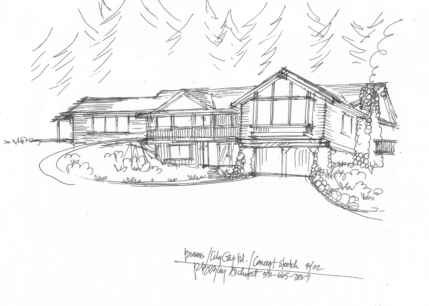 Concept sketch of a new house in the Sierra Foothills